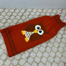 New listing Fab Dog Medium Sweater Owl Brown Orange Yellow Cable Knit Sweater