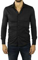 Camicia Uomo Nera Slim Fit Manica Lunga Cotone Sartoriale Elegante S M L XL