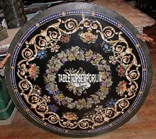 54'' Black Marble Center Round Top Dining Table Scagliola Inlay Garden Decor