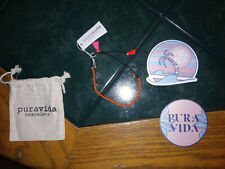 NWT Pura Vida Tangerine Beads & Tassels Gold Spikes Bracelet + Stickers and Bag