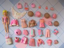 LIGHT PINK SHADES Fashion Polly Pocket Doll rubber Clothes Outfit Dresses LOT
