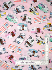 Camper RV Trailer Camp Pink Cotton Fabric Timeless Treasures C5392 By The Yard