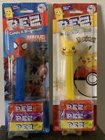 PEZ MARVEL SPIDER MAN & POKEMON PIKASHU SET CANDY & DISPENSER