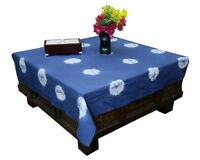 Shibori Table Cover Tie Dye Square Table Cloth Boho Indigo Tablecover Xmas Gift