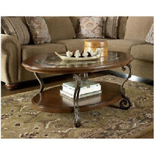 Oval Glass Top Coffee Table Cocktail Height Wood Shelf Living Room Accent Brown
