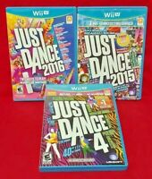 Just Dance 4, 2015,  2016 Dancing Games --  Nintendo Wii U 3 Game Lot Tested