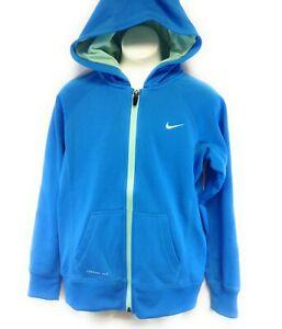 Girls Youth Kids Nike 546100 461 Blue Aqua Therma Fit Full Zip Up Hoodie Jacket