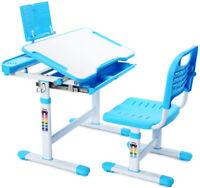 Kids Study Desk Chair Set Height Adjustable Writing Table Desk W/ Storage Drawer