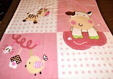 NEW OSAKA PINK POLKA DOT COW BIRD ANIMAL PLUSH MINK GIRL BABY CHILD BLANKET