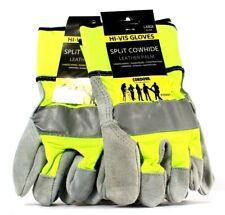2 Pairs Cordova F75551 Split Cowhide Leather Palm Large Hi-Vis Gloves