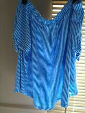H&M Off the shoulder Top Blue White Striped Size XL