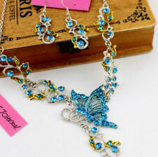Jewelry Pendant Betsy Johnson butterfly Suit flower rhinestone necklaces Retro
