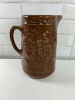 North Star Pottery Beautiful Collectible Vintage Dark Brown Glaze Grapes Pitcher