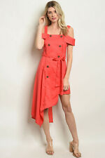 Coral double-breasted dress with asymmetrical hem by Roly Poly