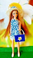 Topper Dawn Doll clothes... DARK BLUE   DAISY MINI DRESS . comes with hat+purse