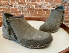 Skechers Relaxed Fit Olive Green Leather Zappiest Side Zip Ankle Boots 9 New