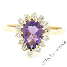 14K Yellow Gold 1.5ctw Pear Amethyst Solitaire Ring w/ Round Diamond Halo Sz 6.5