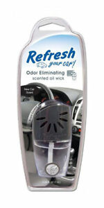 Refresh Your Car Odor Eliminating Scented Oil Wick Air Freshener - New Car Scent
