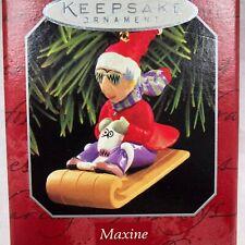 1998 Hallmark Maxine and Floyd Dog on Sled Keepsake Ornament Christmas Shoebox