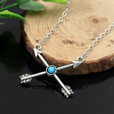 Retro Tibetan Silver Women Love Cupid's Arrow Cross Pendant Chain Necklace
