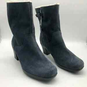 Clarks Bendables Blue Suede Leather Boots Size 8 Faux Fur Lined Mid Calf Shaft