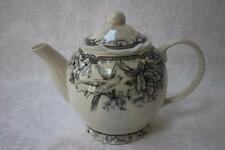 222 Fifth Adelaide Grey and White Bird Floral Coffee Teapot