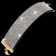 Black Silver Gold Pave Set Crystal Rhinestone Tennis Line Cuff Bracelet  Anklet