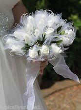 WEDDING BRIDES BOUQUET ARTIFICIAL SILK FOAM FLOWER WHITE ROSE SHIMMER BRIDAL