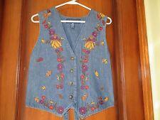 Women's Vest Karen Scott Blue Denim Embroidery Fall Colors SZ SM Mint