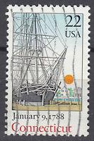 USA Briefmarke gestempelt 22c Connecticut January 9 1788 / 870