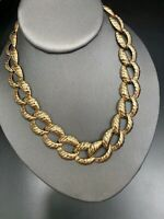 """Vintage Wide Bright Gold   Nice Quality Chunky  Detailed Link Necklace 16"""""""