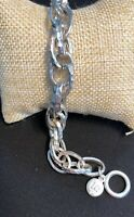 Liz Claiborne Silver Modern Open Hammered Link Twisted Bracelet W/ Toggle Clasp