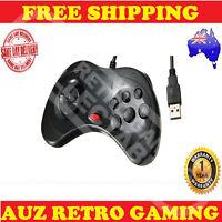 Black USB Controller GamePad For Sega Saturn Joystick PC & Mac Windows