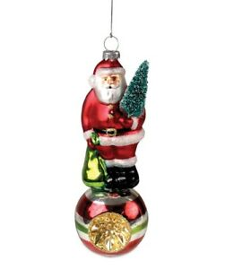 Bethany Lowe - Christmas - Santa on Indent Ball Glass Ornament - LC6369