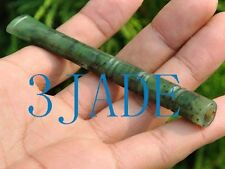 Hand Carved Natural Green  Nephrite Jade Bamboo Cigarette Holder