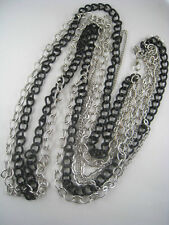 Multiple Stand Silvertone/Black Chain Tiered Necklace