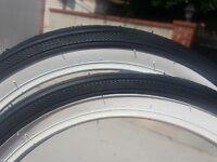 """ONE 16x1 3/4 S-7 Classic WHITE WALL Bicycle Tires Schwinn bike 16""""X 1 3/4"""" krate"""
