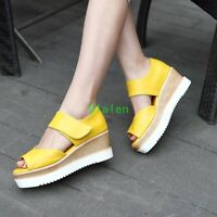 Summer Womens Sandals Roma Open Toe Strappy Wedge Heels Platform Cut Out Shoes