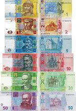 UCRAINA - Ukraine Lotto 6 banconote 1/2/5/10/20/50 hryvnia FDS - UNC