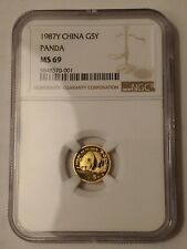 1987Y China 5 Yuan Panda 5Y 1/20 oz .999 Fine Gold Coin NGC Graded MS69