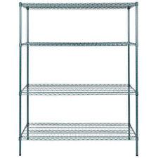 """Heavy Duty 24"""" x 60"""" x 74"""" Green Epoxy Wire Storage Shelf Rack Kit Commercial"""