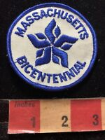 Vintage Blue Embroidery On White Twill MASSACHUSETTS BICENTENNIAL Patch 00K4