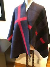 NEW BURBERRY WOOL CASHMERE PONCHO CAPE WRAP SHAWL SCARF BLANKET