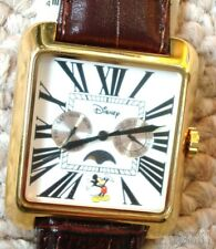 RARE NEW SQUARE CLASSIC MICKEY MOUSE MOON PHASE WATCH W/DAY+DATE + DISNEY BONUS!