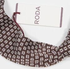 NWT! * RODA * Brown/White Geometric Square Knitted Cotton Italy Necktie Tie