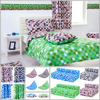 Pixels Single Double Size Duvet Cover Sets & Pillowcases Children's Kids Mining