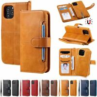 F iPhone 12 Pro Max 11 Xs 7 8 Detachable Magnetic Leather Flip Wallet Case Cover