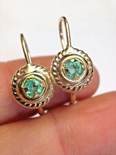 .30 CTW Round Colombian Emerald 14K Yellow Gold Leverback Earrings