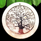 Natural+White+Shell+Silver+Tree+of+life+Round+Pendant+Bead+50x3mm+F89784