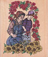 GRANDMA & GRANDSON WATERING FLOWERS Rubber Stamp - By Inkadinkado!